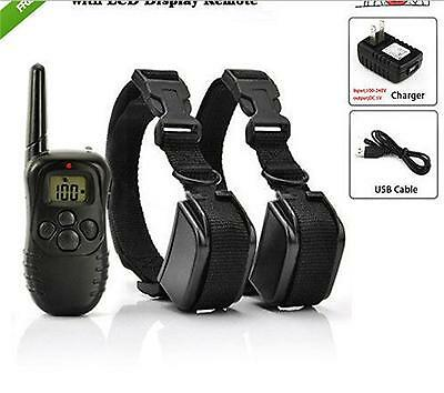 2 Dogs Electric Remote Control Rechargeable Pet Dogs Training Shock Collar 300M