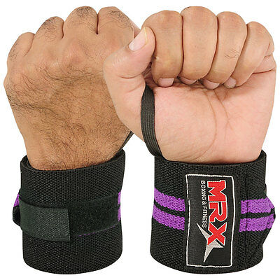 Weight Lifting Training Wrist Support Cotton Wraps Gym Bandage Straps Purple 18""
