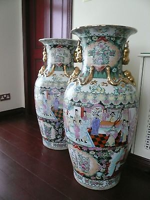Pair of very large hand painted Chinese pottery vases