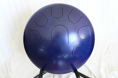 """Ajna Steel Handpan 14"""" 9 Tone Tongue Drum with Case - Lydian Scale USA Made"""