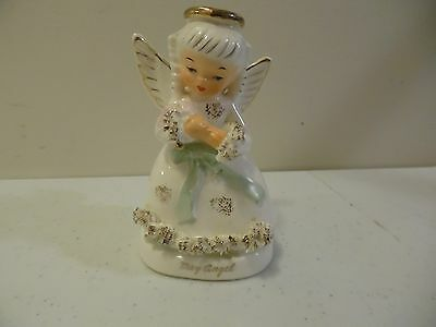 VINTAGE JAPAN BIRTHDAY CERAMIC ANGEL MAY A1365 4 INCHES TALL SPAGETTI TRIM