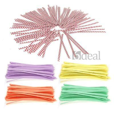 100 PCS Paper Twist Ties for Cello Candy Cake Bag Party