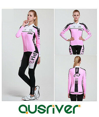 Women  Bicycle Cycling Bike Long Sleeve Clothes Jersey Pants Trousers Paded Set