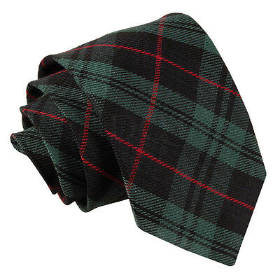 New Dqt Tartan Black & Green With Red Men's Tie