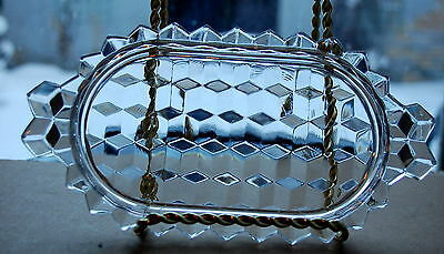 HARD TO FIND!FOSTORIA AMERICAN CLEAR  CHILD SIZE CREAM AND SUGAR HANDLED TRAY