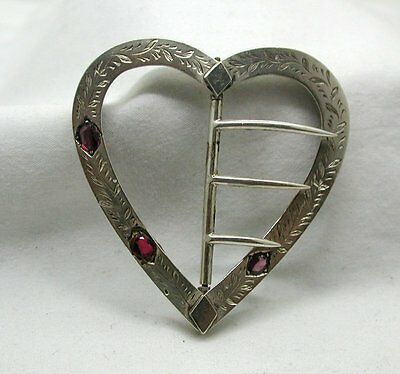 Victorian Beautiful Silver And Amethyst Heart Shaped Buckle