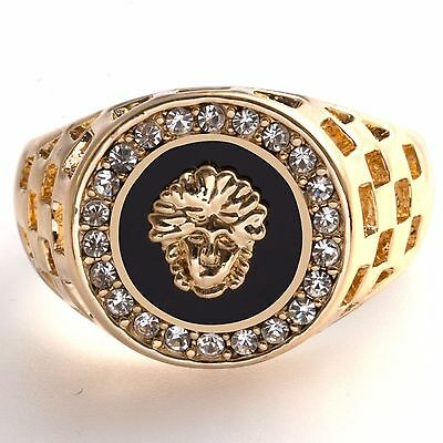 Gold Plated Medusa Mens Onyx Signet New Ring Womens Pinky Band (Sizes N to Z)