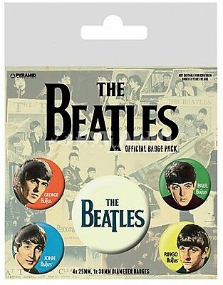 The Beatles (Band) pack of 5 round pin badges    (py)
