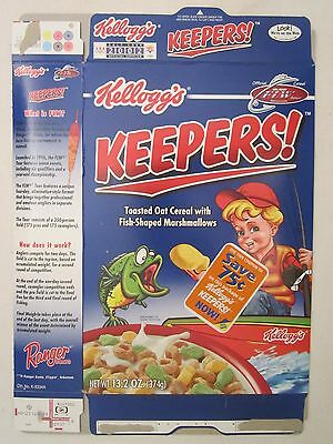 Kelloggs Cereal Box 2001 KEEPERS! 13.2 oz Toasted Oat w FISH-SHAPED MARSHMALLOWS