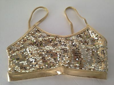 New Gia-Mia S,M,L Child Sizes Gold Sequin Bra Top Dance Wear Excellent Quality