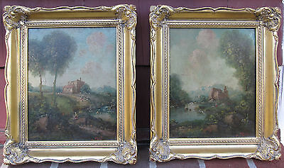 ANTIQUE CONTINENTAL ITALIAN OR FRENCH OIL FINE ART PAINTINGS INTERIOR DECORATE