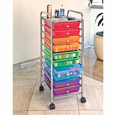 10 Drawer Color Metal Rolling Cart Scrapbook  All-Purpose Organizer Storage NEW