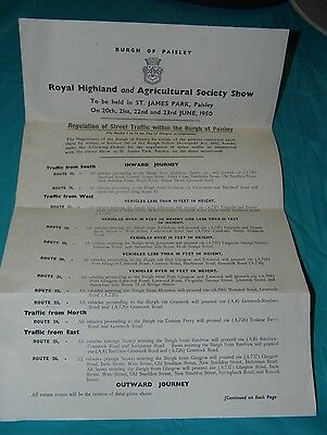 Vintage Royal Highland Show Map And Road Map 1950 / Look Really Nice Framed.