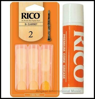 Rico Bb Clarinet Reeds Strength 2  3-pack Number 2 x 3 with Cork Grease New