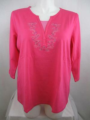 Denim & Co Hot Pink 3/4 Sleeve Stretch Duet Top w/Inset and Bead Detail