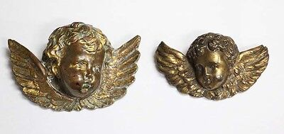 Lovely old 2 French brass bronze winged angel head EXCELLENT !  One bigger one