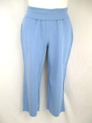 "Avenue Size 22/24 Blue Stretch Cotton Crop Pant with 2.5"" Fold Over Waistband"