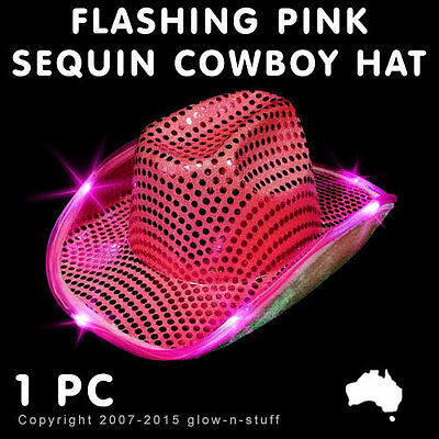 1 X Flashing Cowboy Hat Pink Sequin Led Light Up Glow Dark Rave Party Dance