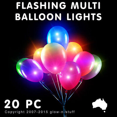20 X Led Multi Colour Balloon Lights Helium Glow In The Dark Disco Light Party