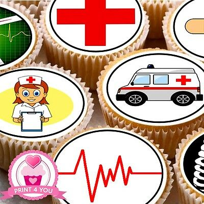 24 Edible cake toppers decorations medical Doctor Nurse hospital Emergency ND2