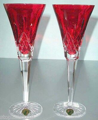 Waterford LISMORE Crimson Champagne Flute Set of 2 Red/Clear Crystal #143815 New