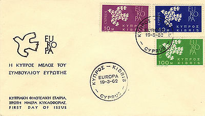 1962 CYPRUS EUROPA Stamps Set 3v SG206-8 First Day Cover KIBRIS Postmark REF:161