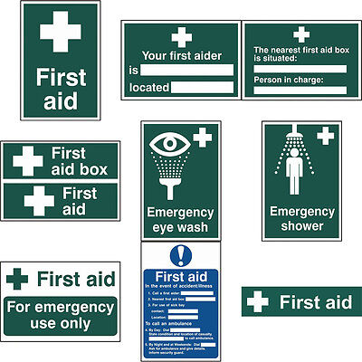 First Aid Green Self Adhesive Office Emergency Safety Workplace Signs - 2 Sizes