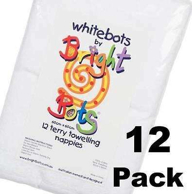 SALE Bright Bots 12 x White 100% Cotton Reusable Towelling Burp Cloth Nappies