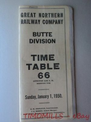 1950 Great Northern Railway Employee Timetable No. 66 Butte Division GNR ETT
