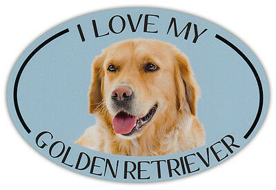 Oval Dog Breed Picture Car Magnet - I Love My Golden Retriever - Bumper Sticker