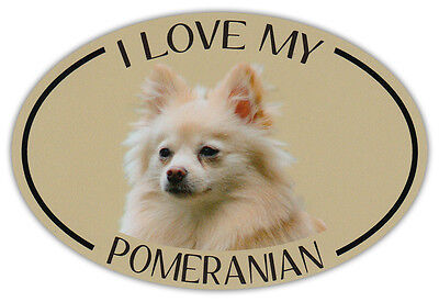 Oval Dog Breed Picture Car Magnet - I Love My Pomeranian - Bumper Sticker Decal
