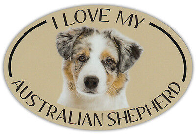 Oval Dog Breed Picture Car Magnet - I Love My Australian Shepherd (Aussie)