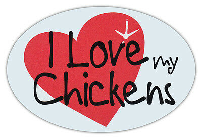 Oval Car Magnet - I Love My Chickens - Bumper Sticker Decal