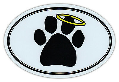 Oval Car Magnet - Dog Paw Print w/Angel Halo - Memorial - Bumper Sticker Decal
