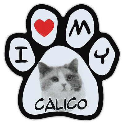 Picture Cat Paw Shaped Car Magnet - Calico - Bumper Sticker Decal
