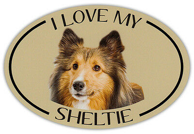 Oval Dog Breed Picture Car Magnet - I Love My Sheltie (Shetland Sheepdog)