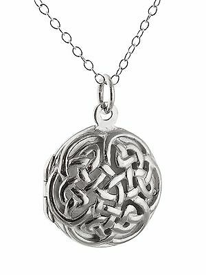 Celtic Knot Locket Necklace - 925 Sterling Silver - Openwork Perfume Love NEW