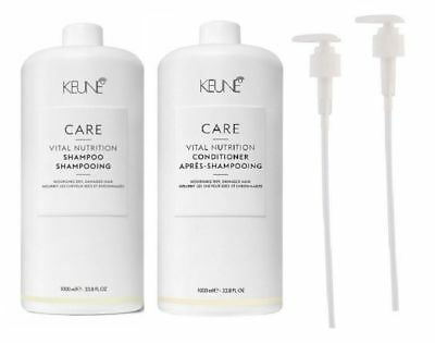 Keune Care Line 1L Satin Oil Hair Shampoo + Conditioner 1Lt Litre + 2 FREE PUMPS