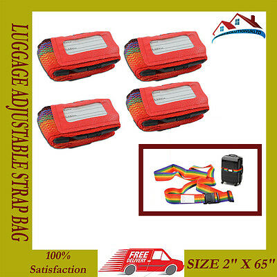 4 X New Colour Luggage Adjustable Strap Bag Address Tags Traveling Straps