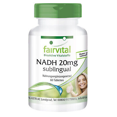 NADH 20mg sublingual 60 Tabletten, Energie, Konzentration, Leistung - fairvital