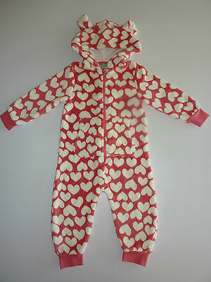 NEXT Little Girls Pink Fleecy Hearts Hooded All in One NWT
