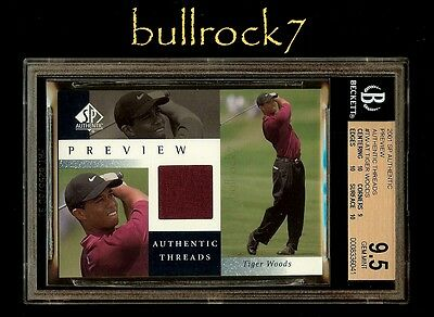 2001 SP Authentic Threads PREVIEW Golf TIGER WOODS BGS 9.5 *10-9-10-10* Full SET