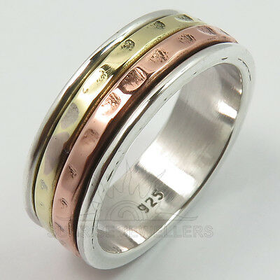 All Sizes Trendy 7mm Band Spinner Ring 925 Solid Sterling silver 3 Tone FINE EDH