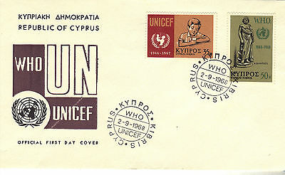 1968 CYPRUS  WHO Stamps Set 2v SG322-323 First Day Cover REF:184
