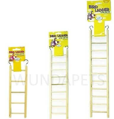 Happypet Budgie Finch Small Bird Cage Play Exercise Wooden Ladder Toy 3 Sizes