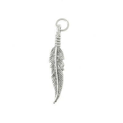 Sterling Silver Long Feather Charm Or Pendant