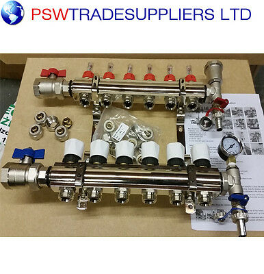 underfloor heating manifold 6 port .Pipes conectors size 16mm / 15mm
