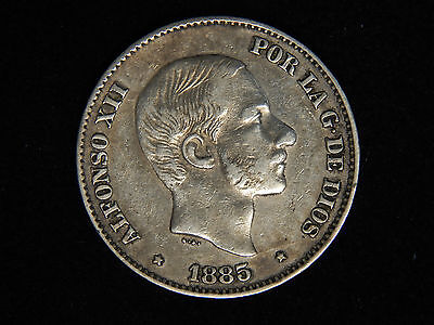 1885 Philippines 50 Centimos - Silver