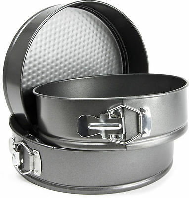"Set of 3 Non-Stick 8 9 10"" SpringForm Baking Round Birthday Cake Tins Tin Set"