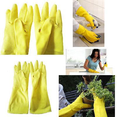 Rubber Gloves Hand Household Work Cleaning Safety Non Slip Grip Kitchen Wash Up